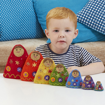 Babooshka Count and Size Felt Russian Dolls 7pcs  large