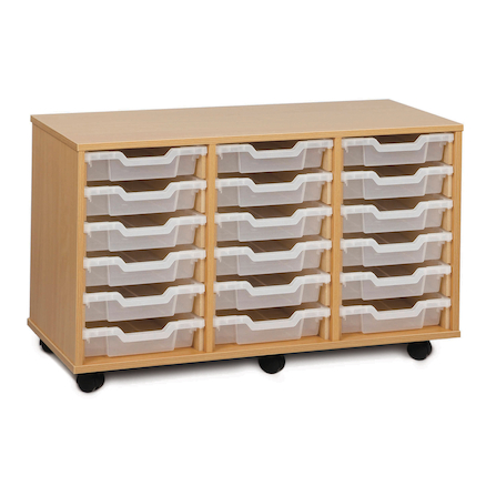 Mobile Tray Storage Unit With 18 Shallow Trays  large