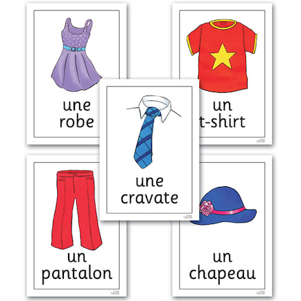 Clothes French Vocabulary Flashcards A4 16pk  large