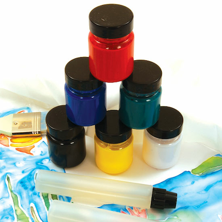 Six Assorted Silk Paints 65ml and one 50ml Gutta  large