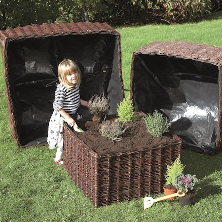 Square Willow Planter 3pk  large
