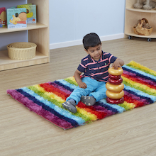 Rainbow Striped Soft Rug  medium