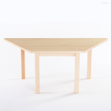 Trapezoidal Solid Beech Table L120cm  large