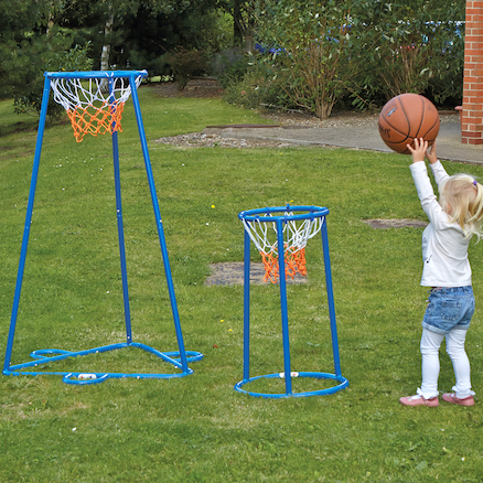 Outdoor Twin Hoop Basketball Stand  large