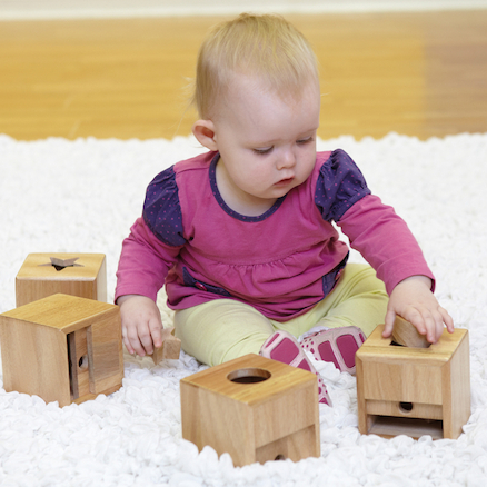 Wooden Baby Posting Pots 4pk  large