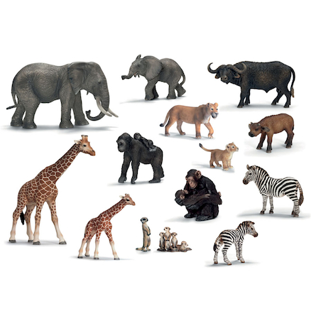 Detailed African Animals and Their Young Set 14pcs  large