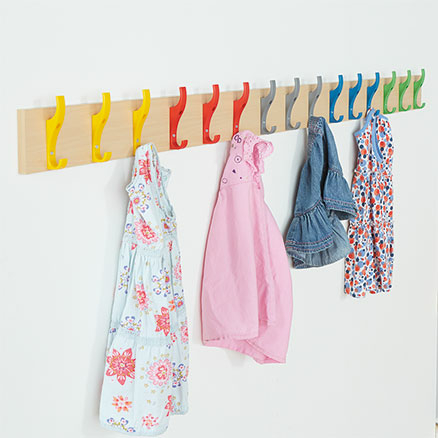 Cloakroom Rail with 15 Multicoloured Coat Hooks  large