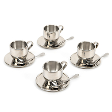 Metal Tea Cup Set 4pk  medium