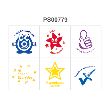Attendance Stamp set of 6  large