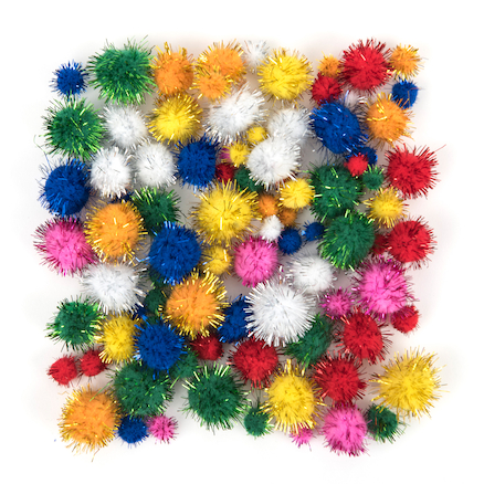 Craft Glitter Pom Poms 100pk  large