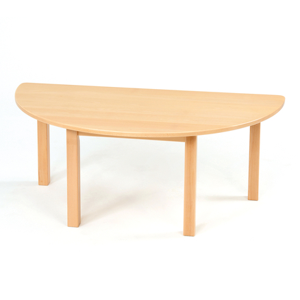 Half Circular Solid Beech Table L120cm  large