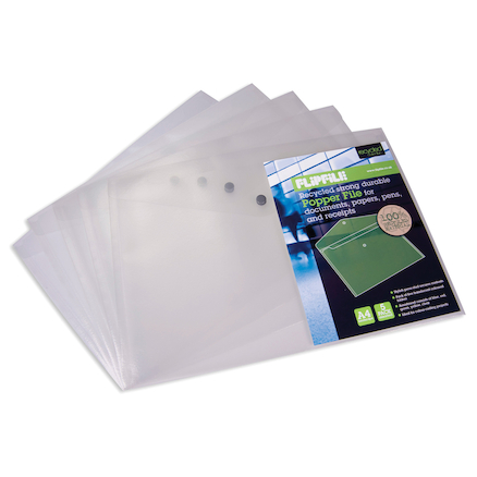 Flipfile Recycled Popper Wallets A4 Pack of 5  large