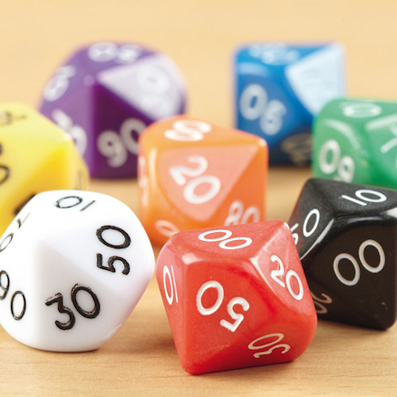 10 Sided Polyhedral Dice 50pk  large