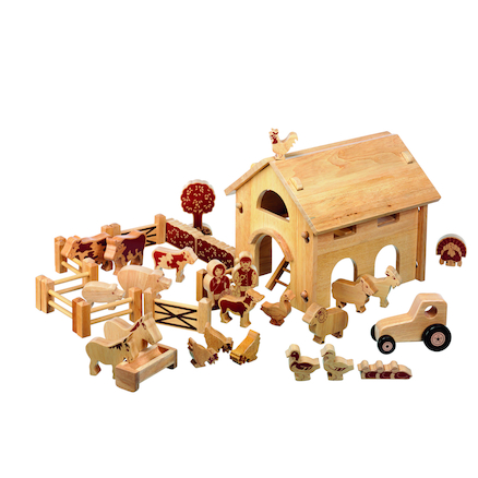Natural Wooden Small World Barn and Farm Set  large