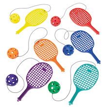 Plastic Playground Bat with Ball on String 6pk  medium