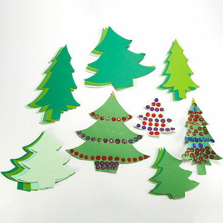 Pre Cut Jumbo Christmas Tree Cards 30pk  large