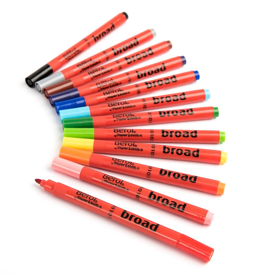 Buy Berol 174 Colour Broad Fibre Tipped Assorted Pens Tts