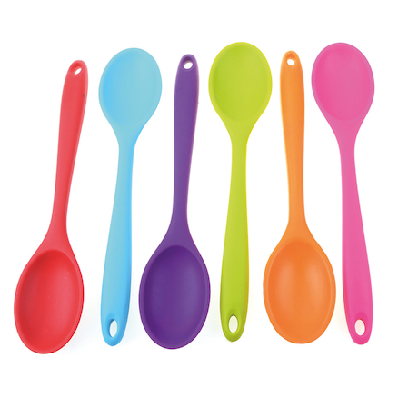 Assorted Coloured Cooking Spoons 6pk  large