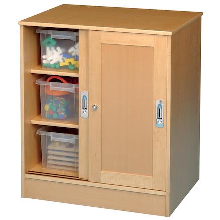 Attractive Medium Beech Lockable Storage Cupboard Large ...