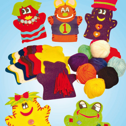 Pre Punched Felt Puppet Shapes 60pk  large