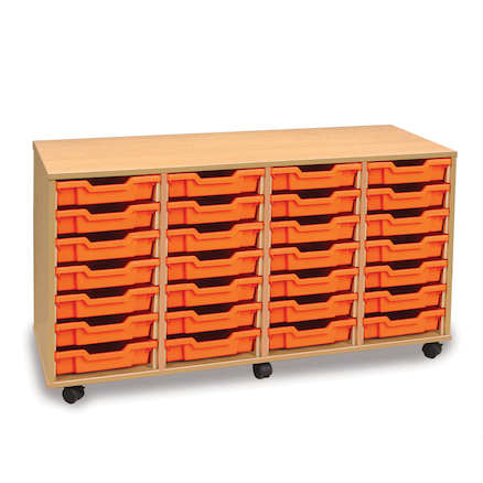 Mobile Tray Storage Unit With 28 Shallow Trays  large