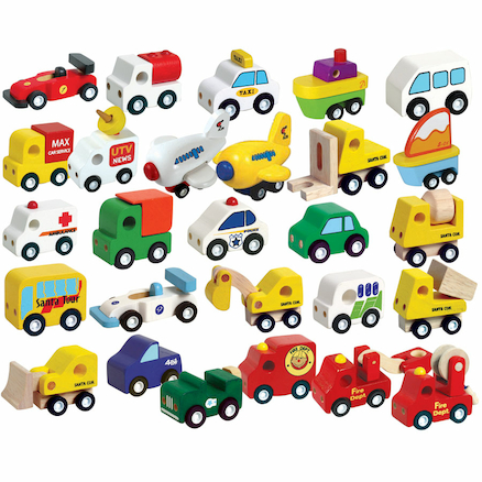 Small World Wooden Vehicles Set 24pcs  large