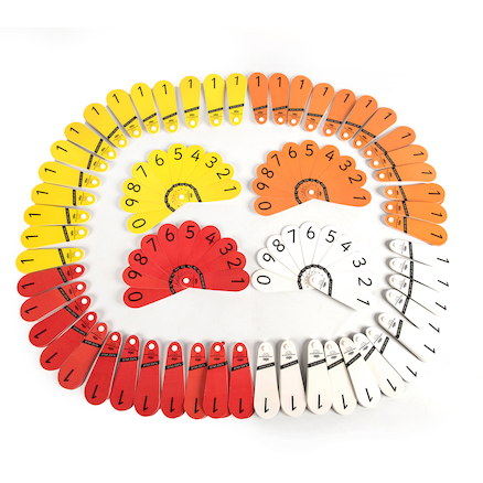 Colourful Place Value Number Fans 60pcs  large