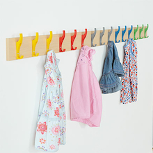 Cloakroom Rail with 15 Multicoloured Coat Hooks  medium