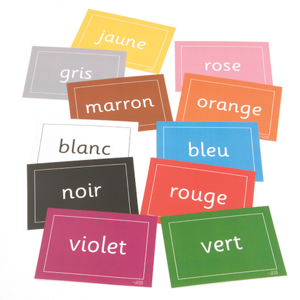 Colours French Vocabulary Flashcards A5 10pk  large