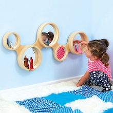 Wooden Framed Mirror With Circles Design 93 x 42cm  medium