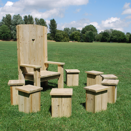 Freestanding Wood Story Circle 8x Stools and Chair  large