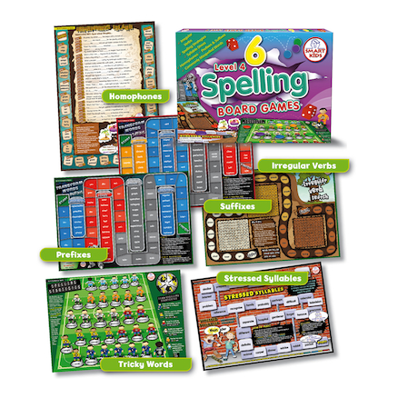6 Spelling Board Games Level 4  large