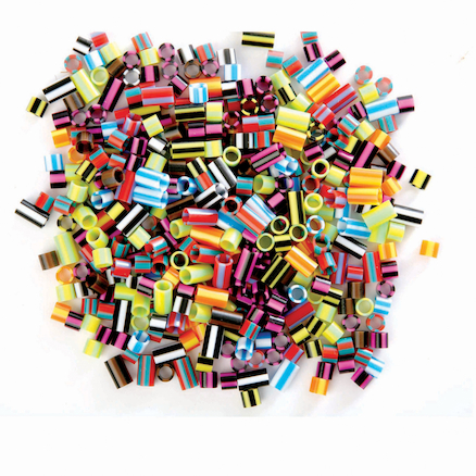 Plastic Straw Assorted Beads 1000pk  large