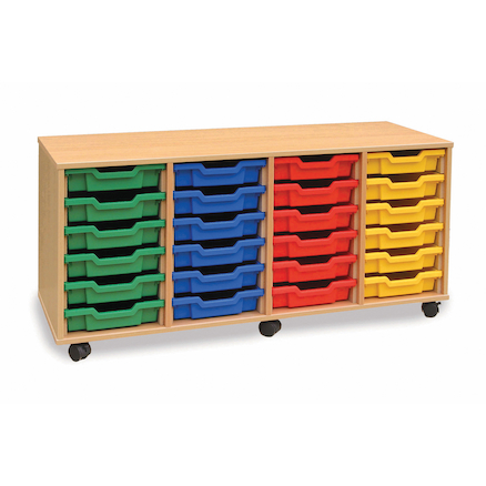 Mobile Storage Unit With 24 Shallow Trays 4x6  large
