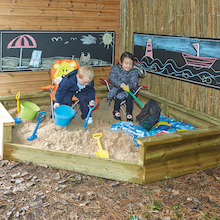 Jumbo Outdoor Wooden Corner Sandpit  medium