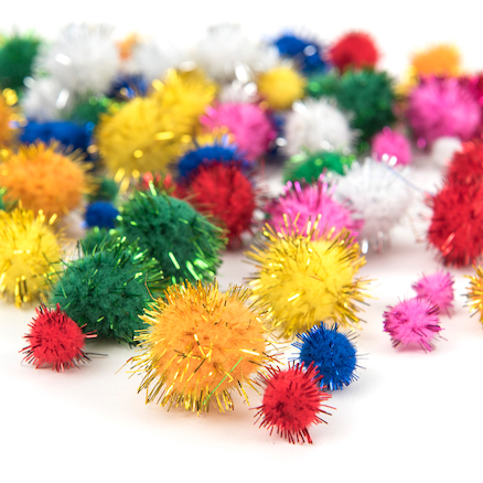 Glitter Craft Pom Poms 100pk  large