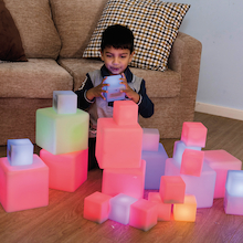 Sensory ICT Glow Construction Blocks Cubes 12pk  medium