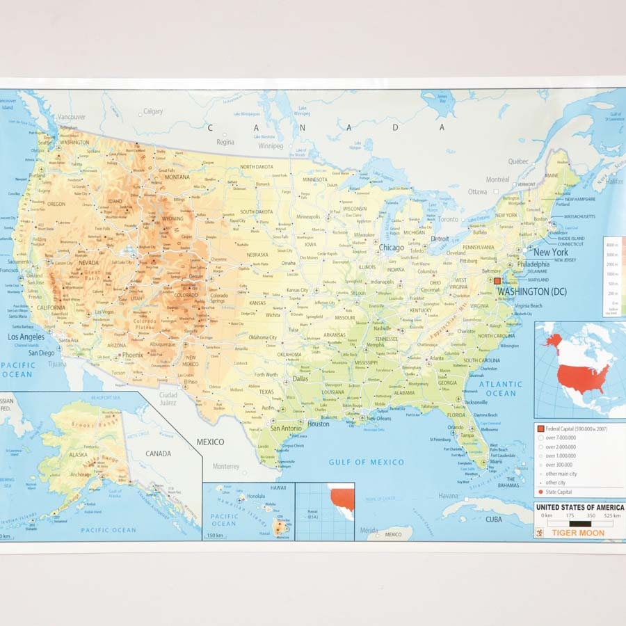 Buy USA Physical Map A TTS - Physical usa map