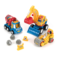 Plastic Construction Vehicles and People Set  medium
