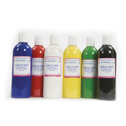 Acrylic Paint Assorted 500ml 6pk  large