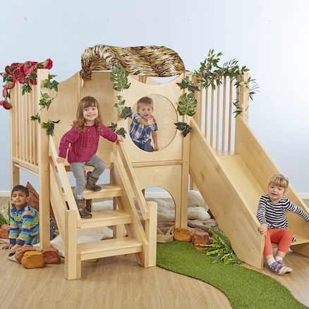 Indoor Wooden Climb and Slide Unit  large