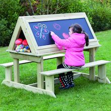 Easy Access Outdoor Wooden Sit Down Easel  medium
