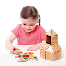 Wooden Magnetic Polydron Shapes 32pcs  medium
