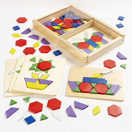 Wooden 2D Shapes and 5 Pattern Boards  large