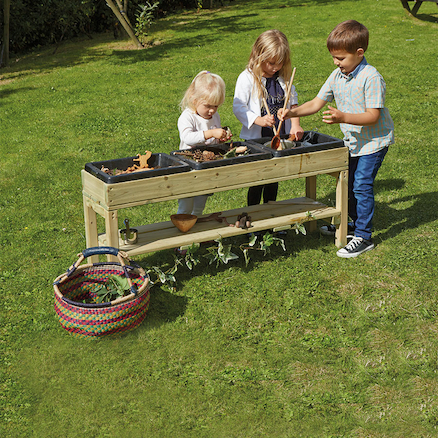 Outdoor Messy Table with Rubber Trays  large