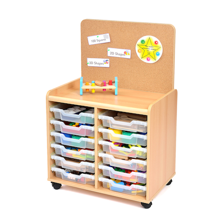 Tray Storage Unit With Cork Display Board  large