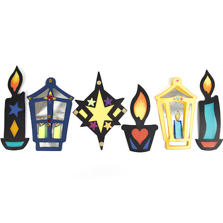 Festival of Lights Stained Glass Decs  large