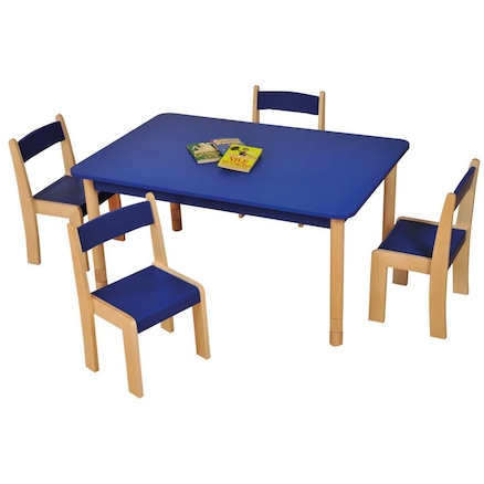 Height Adjust Rectangular Wooden Classroom Tables  large
