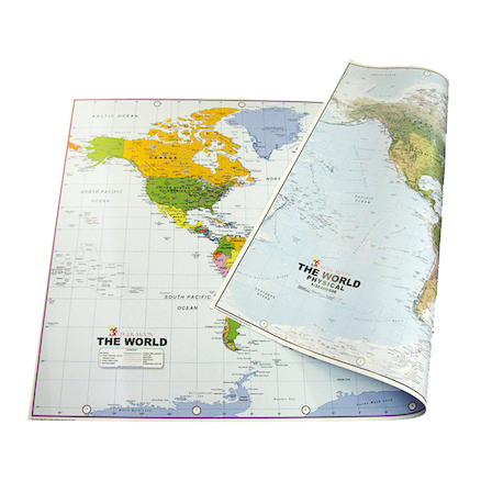 World Map Reversible Political and Physical A0  large