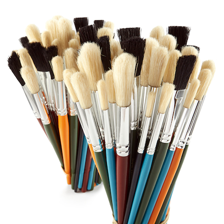 Round And Flat Hog Hair Paint Brushes 100pk  large
